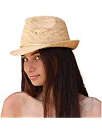 Palmeras y arena de las señoras de las mujeres de Fedora Sombrero de sol, sombrero de la playa (naturales)