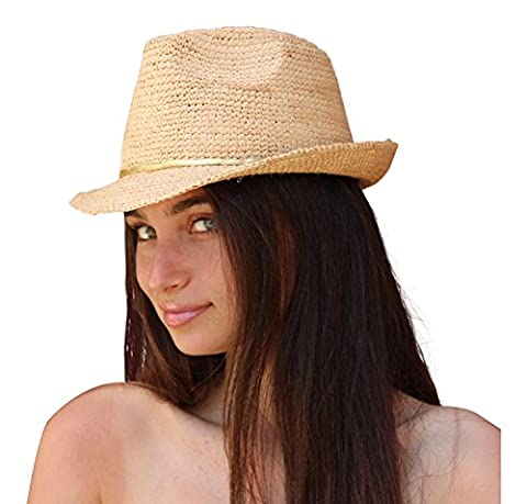 paumes et sable Mesdames Fedora Chapeau de soleil femme, chapeau de plage raphia (naturel)