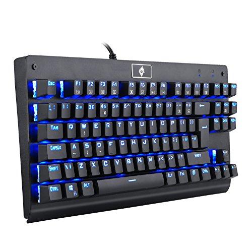 EagleTec KG040 Gaming-Tastatur, Ergonomisches Design 87 Tasten, Blau Beleuchtete Mechanische Tastatur, Blaue Schalter, USB Kabelgebunden für PC Gaming und Büro (QWERTY UK - Englisches Tastaturlayout)