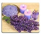 luxlady Gaming Mousepad Spa Zusammensetzung Lavendel Blumen Farbige Baden Salz und Kerzen Bild-ID 7704429