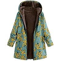 Deloito Damen Weinlese Winter Warm Outwear Blumenmuster Mit Kapuze Taschen Übergroße Mäntel