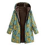 Dorical Abstand Frauen Kleidung Plus Size Winter Warm Hooded Outwear Floral Print Taschen Vintage Oversize Mäntel