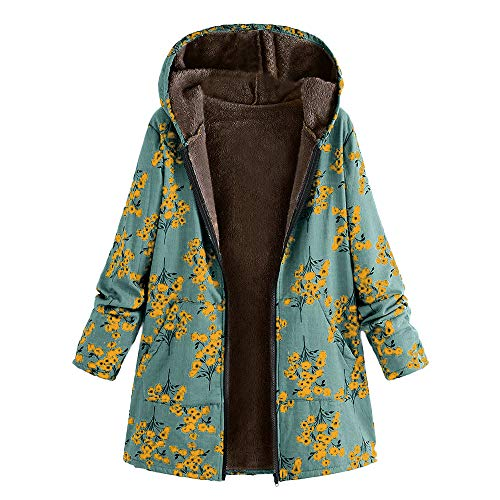 Femme Manteau Veste À Capuche Longues Parka Chic Coton Lin Chaud Hiver Blouson Elegant, QinMM Poilue Fourrure Rembourré Tops Trench-Coat Rétro Vintage Épaissir Impression Fleur Button Jacket