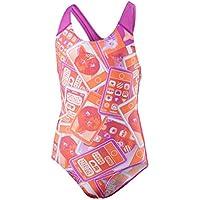 Speedo Monogram Nu-Daze Allover - Bañador, Espalda Abierta, niña, Color Orchid/Soft Coral/White, tamaño 26