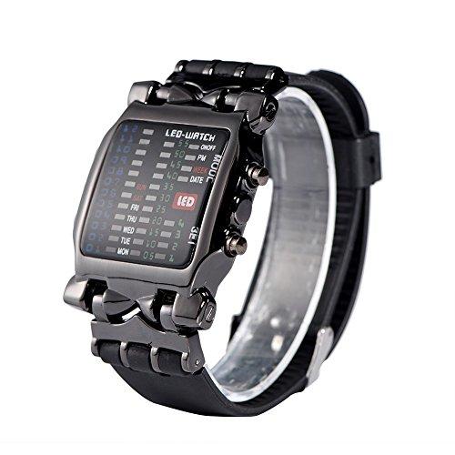 Montres pour les femmes, mâle femelle électronique LED montre bracelet PU date fonction montre-bracelet