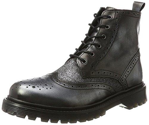 rifka-Chunkyx Combat Boots, Mehrfarbig (Gunmetal/Old Silver 114), 41 EU (Silber Glitter Stiefel)