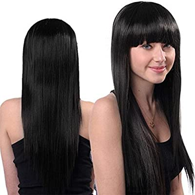 S-noilite® 23 Inches Women's Long Full Wigs One Piece Straigh Hair Wig Flat Bang Heat Resistant Dark Black from S-noilite