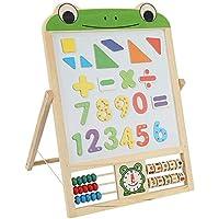 Greensen Kids Art Easel Double Side Wooden Magnetic Blackboard Whiteboard Children Learning Easel Painting Chalkboard for Kids
