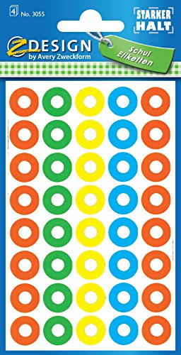 Avery 3055 Multicolor 160pieza(s) - Etiqueta autoadhesiva (Multicolor, 1,3 cm, 160 pieza(s))