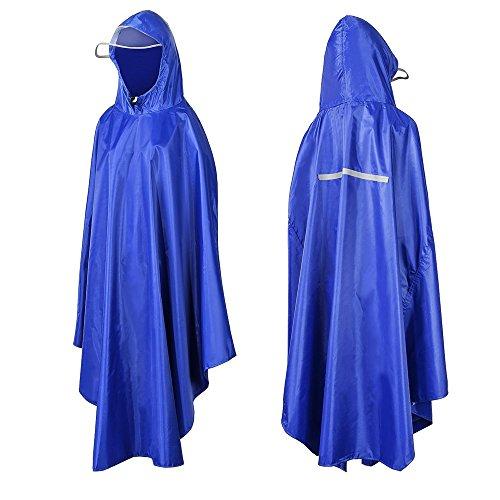 Pioggia poncho, aufeel impermeabile traspirante con cappuccio, cappotto di pioggia impermeabile per bici, moto, hiking, trekking, campeggio, pesca, viaggi