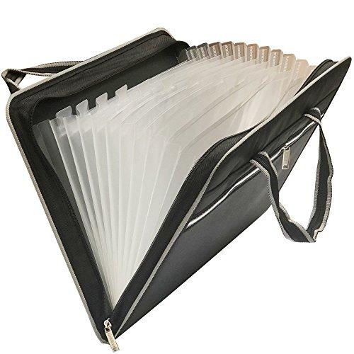 HIHUHEN Portable Hand-Held Canvas Akkordeon-Dateien Dokument Ordner Multifunktions-Datei Organizer, A4 und Letter Größe 13 Taschen (Folder Black-ST)