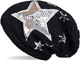 styleBREAKER warme Feinstrick Beanie Mütze mit All Over Vintage Stern Print, Pailletten Stern und sehr weichem Fleece Innenfutter, Unisex 04024091, Farbe:Midnight-Blue / Dunkelblau