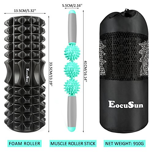 EocuSun-Foam-Roller-and-Massage-Stick-2-in-1-Set-Fitness-Foam-Roller-for-Deep-Tissue-Muscle-Massage-Trigger-Point-Therapy-Myofascial-Release-Muscle-Roller-for-Fitness-CrossFit-Yoga-Pilates