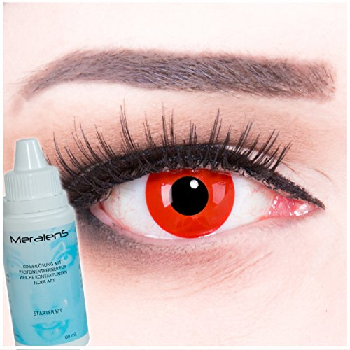 MeralenS Farbige rote Crazy Fun Kontaktlinsen crazy contact lenses Red Devil Teufel 1 Paar perfekt zu Fasching, Karneval und Halloween. Mit gratis Linsenbehälter + 60ml Pflegemittel