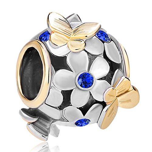Pugster–ciondolo con fiori in cristallo placcati oro e farfalle dorate, compatibile con braccialetti pandora, altri metalli, colore: blu, cod. mh_dpc_fa323_x09