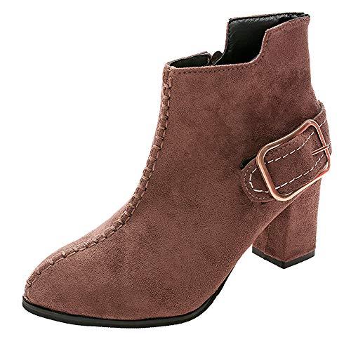 MYMYG Damen Chelsea Boots Frauen High Heel Schuhe Martain Boot Wildleder Volltonfarbe runde Zehe Reißverschluss Schuhe Einfarbige Boots Ankle Boots mit Halbhohe Blockabsatz ()