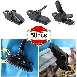 RUNCCI 50 Pcs Clip De Tienda Abrazadera Plástico Toldos Tarp Clips Apretar para Actividades Al Aire Libre Herramienta Abrazadera De Apriete para Tienda De Campaña