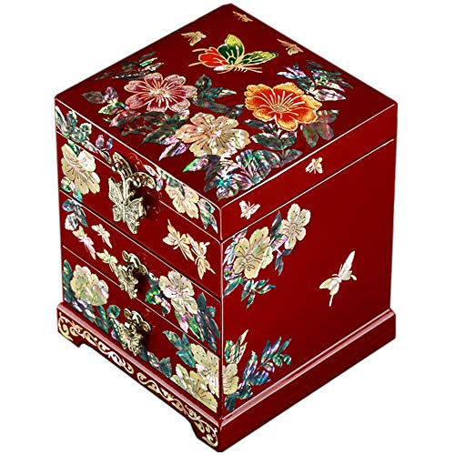 HAIHF Lack Schmuck Box, Holz Aufbewahrungsbox, Perlmutt Schmetterling Design Holz Schmuck Spiegel Schmuckstück Andenken Schatz Schublade Lack Box Fall Brust Veranstalter -