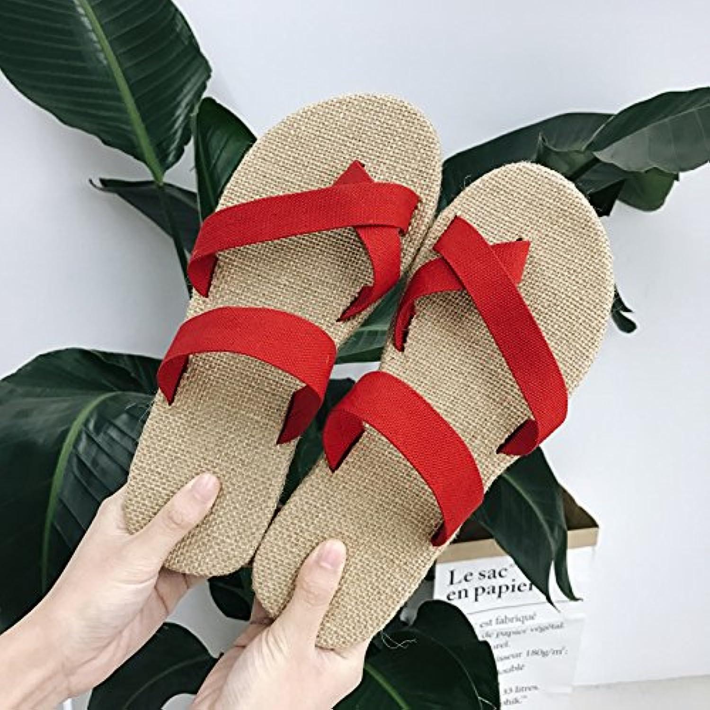 fankou Las Parejas de Verano Conjunto de Lino-Toe Zapatillas Casual Zapatillas Cool Hombres y,38,un Rojo