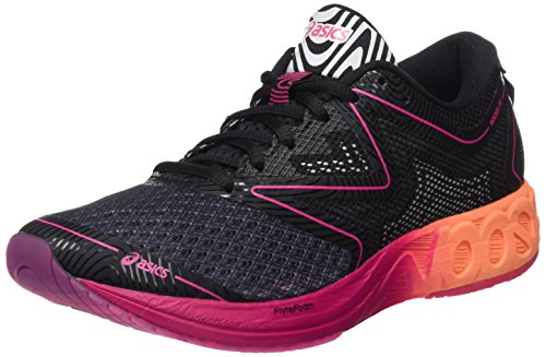 Asics Damen Noosa FF Laufschuhe, Schwarz (Black/Hot Orange/Pink Peacock), 40 EU