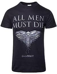 Game Of Thrones T Shirt all Men Must Die Crow offiziell Herren Schwarz