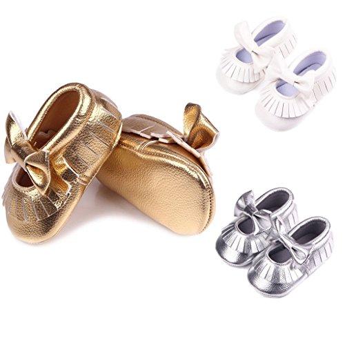 Baby Quaste Weiche Lederschuhe Mit Hellen Bowknot Dekor Krippe Schuhe - silber, 11 gold