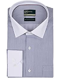 [Sponsored]GE Shirts Men's 100% Egyptian Giza Cotton Business Formal Relaxed Slim Fit Navy And White Striped Shirt With Complementary...