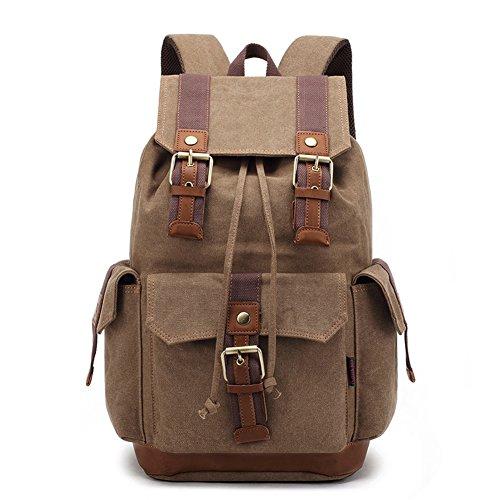 Männer Vintage Mode Leinwand Rucksack Tag Tasche Rucksack Mit Doppel Leichten Kaffee
