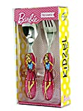 #8: Kidzel- Pink Barbie Cutlery set for kids - set of Stainless Steel Fork and Spoon for girls. Perfect Gift for girls.
