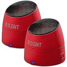 R.O.GNT 0002-21 - Altavoces portátiles para reproductores de MP3/MP4/MP5, smartphones, iPhone y tablet (radio FM, 80dB, 450 mAh, USB, con batería)