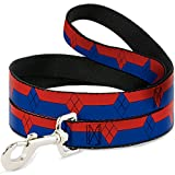 Buckle Down dl-6ft-wjk041-w rot/blau Harley Quinn Pet Leine, 6 Füße Long-1.5 cm breit
