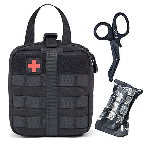 "BUSIO Botiquines Primeros Auxilios Kit Supervivencia,Bolsa First Aid,IFAK Rip-Away MOLLE Medic Pouch con 6"" Vendaje Israelí +Tijeras Enfermeria EMT+Parche (Negro)"