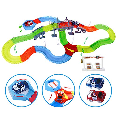 Kuultoy Autorennbahn Leuchtend für Kinder, Magic Trucks Twister Tracks Starter Set, Rennbahn Racetrack für Kinder ab 3 Jahren, 2 E-Autos + Rennbahnset
