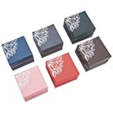 NBEADS 24 Cajas de joyería de cartón con diseño de Flores, Paquete para Regalo de Anillo, Color Mezclado, 5,5 x 5,5 x 4 cm