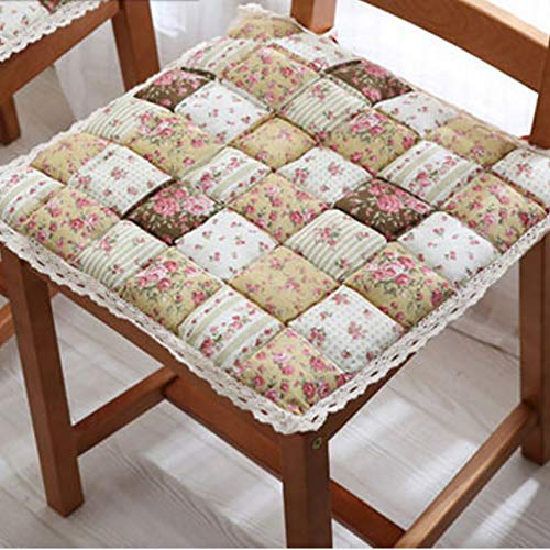 Gesteppte Stuhl-pads (Y&H Quadratische Gesteppter Stuhl-pad,Baumwolle Tatami-pad Nicht-Slip Stock Pad Mit Krawatten Waschbar Erker Kissen Atmungsaktive Seat Dämpfung Sofa Dämpfung-Kaffee 40x40cm(16x16inch))