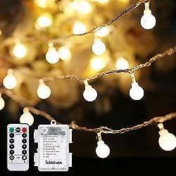 Tobbiheim 50 LED Kugeln Lichterkette Batteriebetrieben 7 Meter Stimmungslichter IP68 Wasserdicht Außenbeleuchtung und Innenbeleuchtung Sternlicht für Weihnachten, Hochzeit, Party, Ferien - Warmweiß