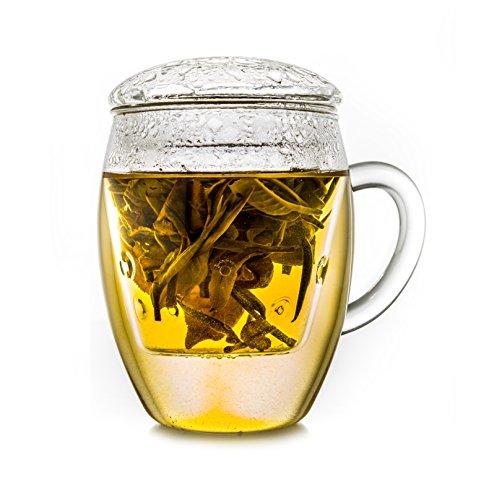 Creano Teeglas all in one, Große Teetasse mit Sieb und Deckel aus Glas, 400ml