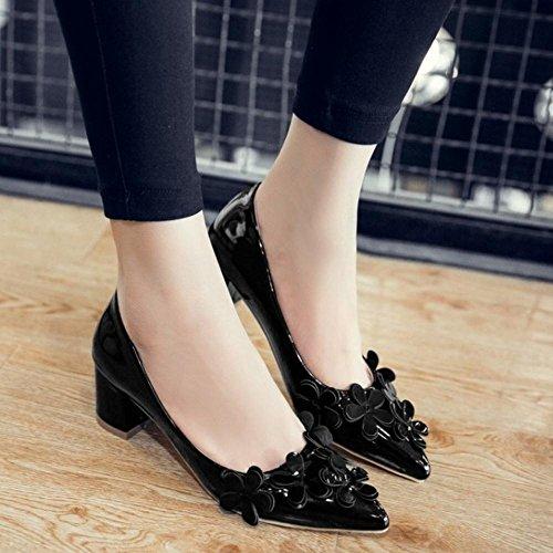 TAOFFEN Femmes Chaussures Mode Bloc Talons Moyen A Enfiler Pointu Floral Escarpins Noir