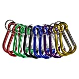 COM-FOUR® Karabiner Set Karabinerhaken mit Schlüsselring in 6 verschiedenen Farben