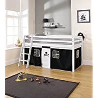 Noa and Nani - Midsleeper Cabin Bed with Pirate Tent - (White)