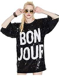 Bmeigo Mujer Lentejuela Camiseta 3 4 Tops de Manga Vestido Suelto Impreso  Cartas Hip Hop 19c4f253f7f