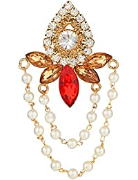 AccessHer Vintage Red And Gold Brooch With Chains For Women