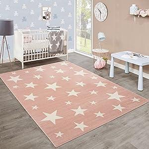 Moderner Kurzflor Kinderteppich Sternendesign Kinderzimmer Pastell Rosa  Weiß, Grösse:160x220 Cm