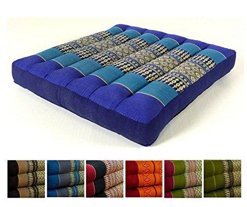 Kapok Sitzkissen 35x35x6,5Cm Der Marke Livasia, Optimal Als Stuhlauflage Oder Meditationskissen, Bodenkissen, Stuhlkissen (Blau)