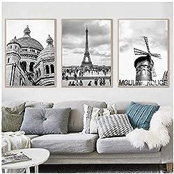 WUJUNHAOFBH Paris Imprimer France Ville Paysage Photographie Affiche Mur Noir et Blanc Photos Toile Peinture Home Wall Art Decor50x70cm No Frame