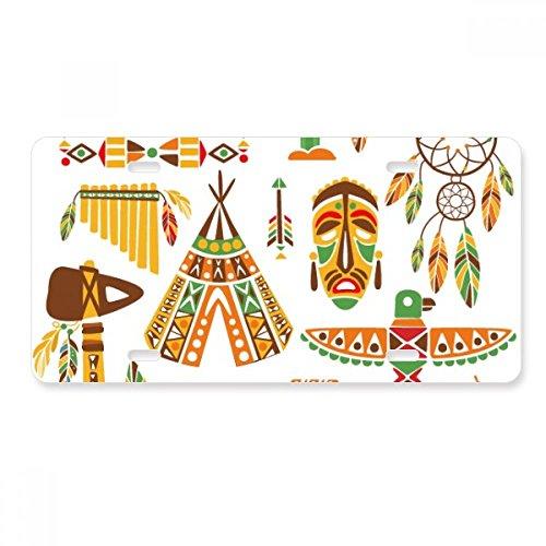 FerryLife Totem - Atrapasueños Indio Nativo Americano, Placa de matrícula para Coche, Accesorio de Acero Inoxidable