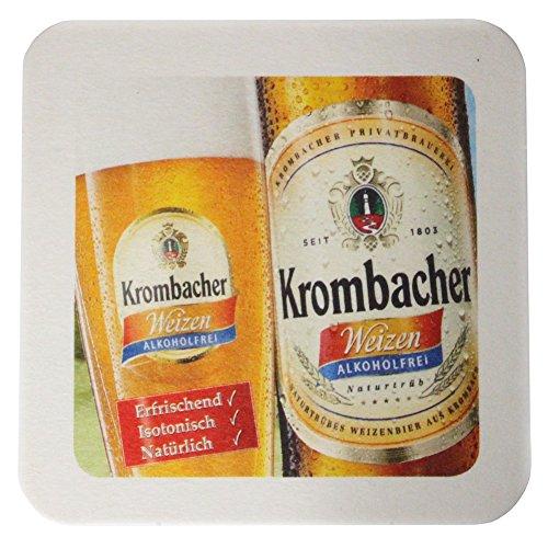 Krombacher Bierdeckel Pils Untersetzer Bier Glas Gläser Bierfilz Pappdeckel Party Bar Theke Tresen Deko Motiv Design (Weizen / Alkoholfrei)