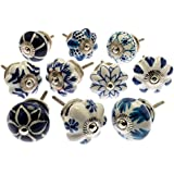 Mixed Set of Blue & White Ceramic Cupboard Knobs x Pack 10 (MG-203) - 'Mango Tree' TM Registered Product