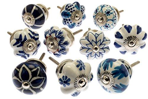 Set misto pomelli di ceramica blu e bianca per cassetti e armadietti pezzi 10 (mg-203) 'vintage-chic' tm marchio registrato