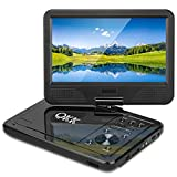 QKK 10.1' Portable DVD Player, Built In 5 Hours Rechargeable Battery, 270°Rotatable HD Display, Supports USB and SD Card, Black.